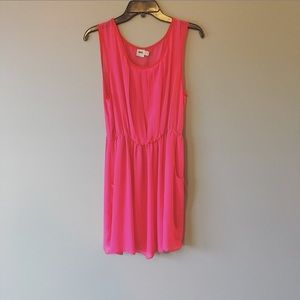 ASOS Hot Pink Sheer Pleated Pocket Dress Size 12